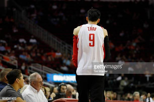 Zhou Qi of Houston Rockets enters the game in the second quarter against the Shanghai Sharks at Toyota Center on October 5 2017 in Houston Texas NOTE...