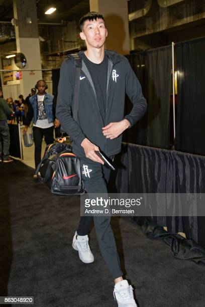 Zhou Qi of the Houston Rockets arrives at the arena before the game against the Golden State Warriors on October 17 2017 at ORACLE Arena in Oakland...