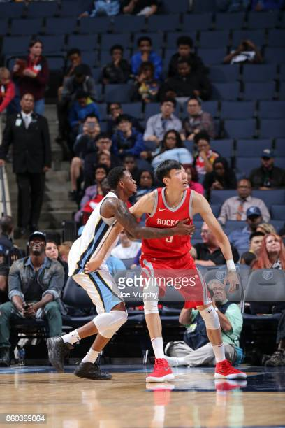 Zhou Qi of the Houston Rockets awaits the ball during a preseason game against the Memphis Grizzlies on October 11 2017 at FedExForum in Memphis...