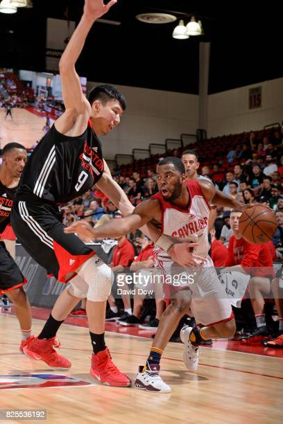 Zhou Qi of the Houston Rockets defends against the Cleveland Cavaliers during the 2017 Las Vegas Summer League on July 8 2017 at the Cox Pavilion in...