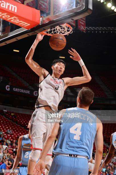 Zhou Qi of the Houston Rockets dunks against the Denver Nuggets during the 2017 Summer League on July 12 2017 at the Thomas Mack Center in Las Vegas...