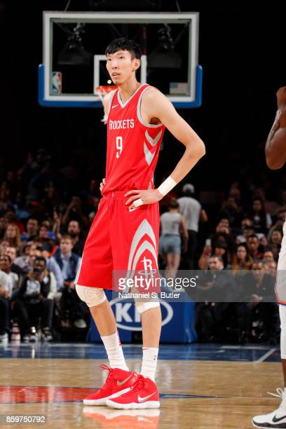 Zhou Qi of the Houston Rockets during the game against the New York Knicks during the preseason game on October 9 2017 at Madison Square Garden in...