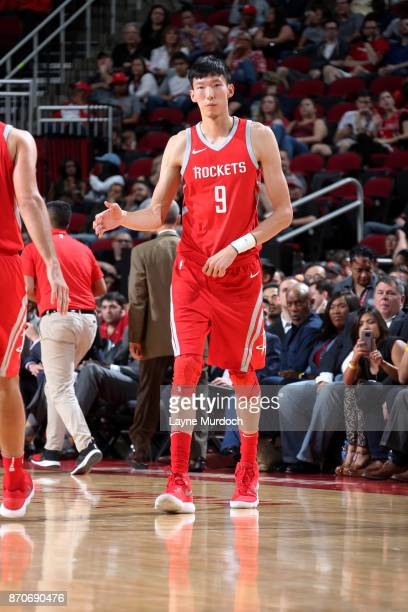 Zhou Qi of the Houston Rockets during the game against the Utah Jazz on November 5 2017 at the Toyota Center in Houston Texas NOTE TO USER User...