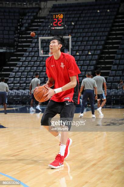 Zhou Qi of the Houston Rockets handles the ball before a preseason game against the Memphis Grizzlies on October 11 2017 at FedExForum in Memphis...
