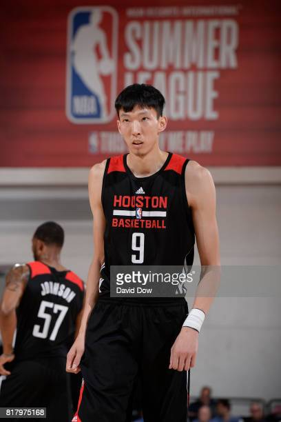 Zhou Qi of the Houston Rockets looks downcourt in a game against the Denver Nuggets during the 2017 Las Vegas Summer League on July 7 2017 at the Cox...