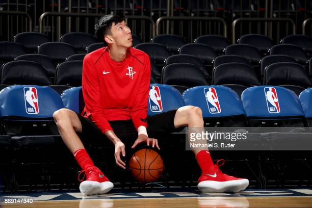 Zhou Qi of the Houston Rockets looks on before the game against the New York Knicks n November 1 2017 at Madison Square Garden in New York City New...