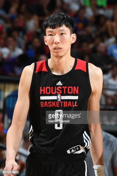 Zhou Qi of the Houston Rockets looks on during the game against the Phoenix Suns on July 10 2017 at the Thomas Mack Center in Las Vegas Nevada NOTE...