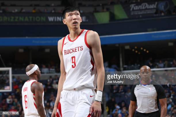 Zhou Qi of the Houston Rockets looks on during the game against the Memphis Grizzlies on October 28 2017 at FedExForum in Memphis Tennessee NOTE TO...