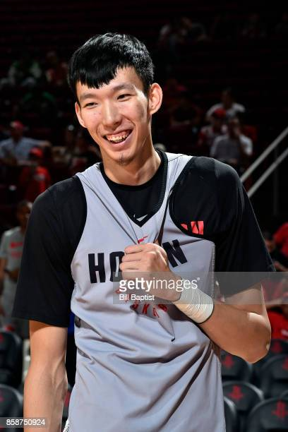 Zhou Qi of the Houston Rockets participates in the team's annual Fan Fest event on October 7 2017 at the Toyota Center in Houston Texas NOTE TO USER...