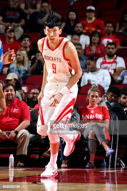 Zhou Qi of the Houston Rockets reacts during the preseason game against the Shanghai Sharks on October 5 2017 at the Toyota Center in Houston Texas...