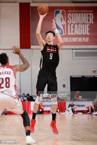 Zhou Qi of the Houston Rockets shoots the ball against the Cleveland Cavaliers during the 2017 Las Vegas Summer League on July 8 2017 at the Cox...