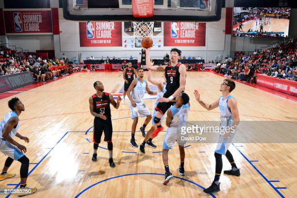 Zhou Qi of the Houston Rockets shoots the ball during the game against the Denver Nuggets during the 2017 Las Vegas Summer League on July 7 2017 at...