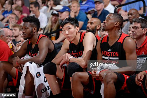 Zhou Qi of the Houston Rockets sits on the bench during the 2017 Summer League game against the Atlanta Hawks on July 14 2017 at Cox Pavillion in Las...
