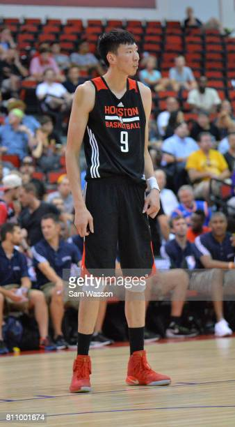 Zhou Qi of the Houston Rockets stands on the court against the Cleveland Cavaliers during the 2017 Summer League at the Cox Pavilion on July 8 2017...
