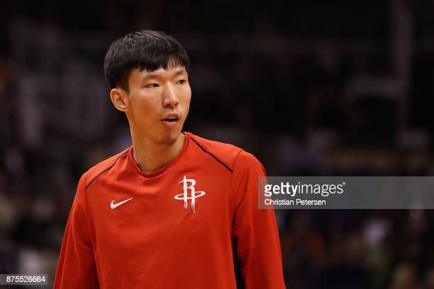 Zhou Qi of the Houston Rockets warms up before the NBA game against the Phoenix Suns at Talking Stick Resort Arena on November 16 2017 in Phoenix...