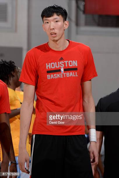 Zhou Qi of the Houston Rockets warms up in a game against the Denver Nuggets during the 2017 Las Vegas Summer League on July 7 2017 at the Cox...