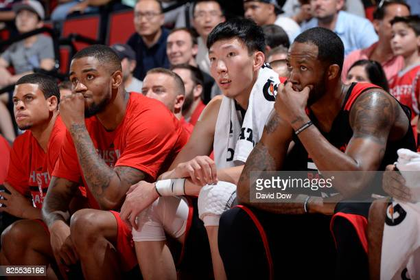 Zhou Qi of the Houston Rockets watches from the sidelines against the Cleveland Cavaliers during the 2017 Las Vegas Summer League on July 8 2017 at...