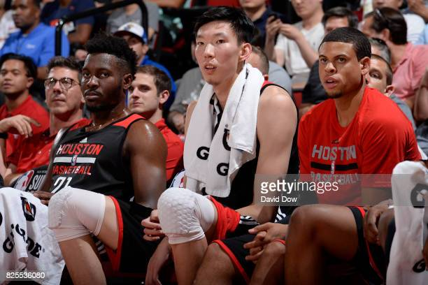 Zhou Qi of the Houston Rockets watches from the sidelines as the Cleveland Cavaliers played the Houston Rockets during the 2017 Las Vegas Summer...
