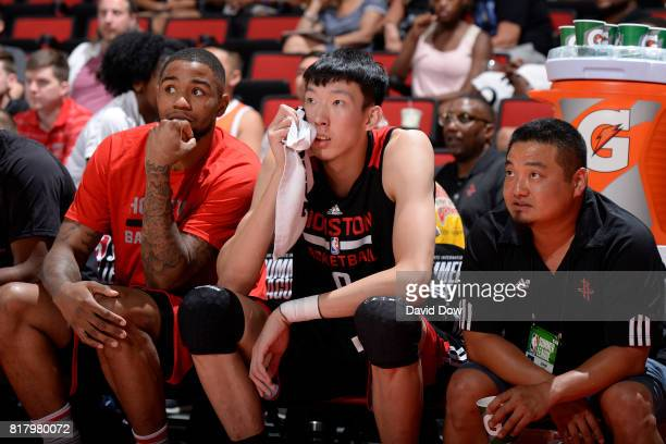 Zhou Qi of the Houston Rockets watches from the sidelines in a game against the Denver Nuggets during the 2017 Las Vegas Summer League on July 7 2017...