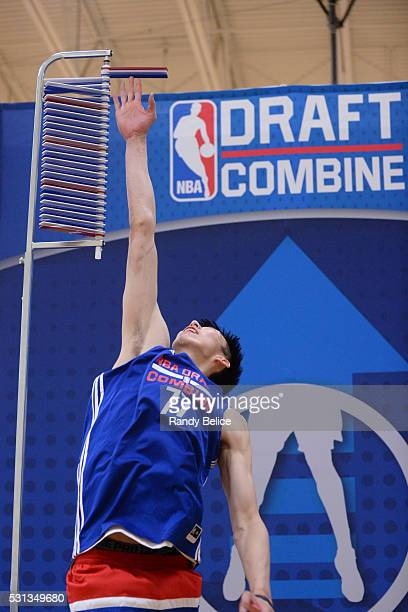 Zhou Qi performs a Vertical Leap test during 2016 NBA Draft Combine on May 12 2016 at the Quest Multisport in Chicago Illinois NOTE TO USER User...