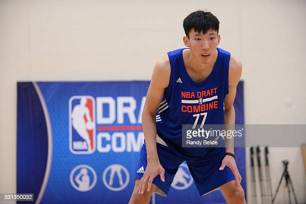 Zhou Qi stretches during 2016 NBA Draft Combine on May 12 2016 at the Quest Multisport in Chicago Illinois NOTE TO USER User expressly acknowledges...
