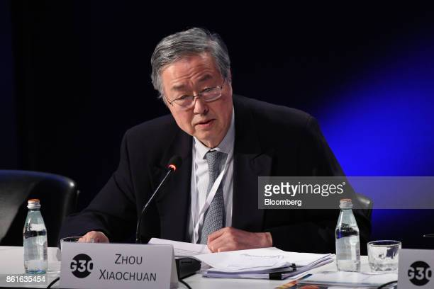 Zhou Xiaochuan governor of the People's Bank of China speaks during the Group of Thirty International Banking Seminar in Washington DC US on Sunday...