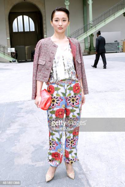 Zhou Xun attends the Chanel show as part of Paris Fashion Week Haute Couture Fall/Winter 20142015 Held at Grand Palais on July 8 2014 in Paris France
