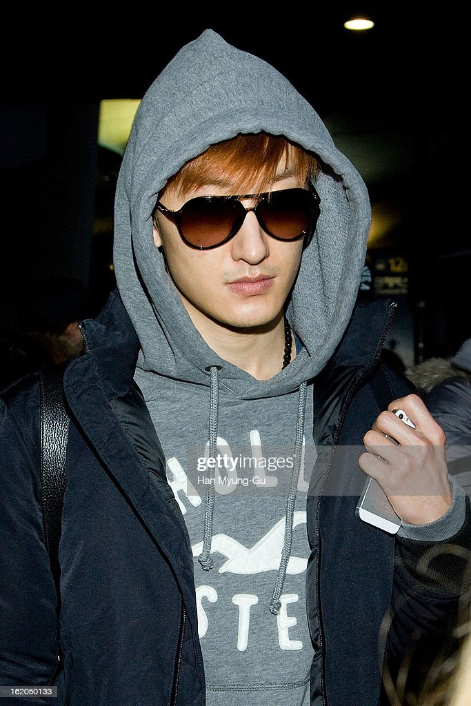 Zhoumi of boy band Super Junior M is seen upon arrival at Incheon International Airport on February 18, 2013 in Incheon, South Korea.