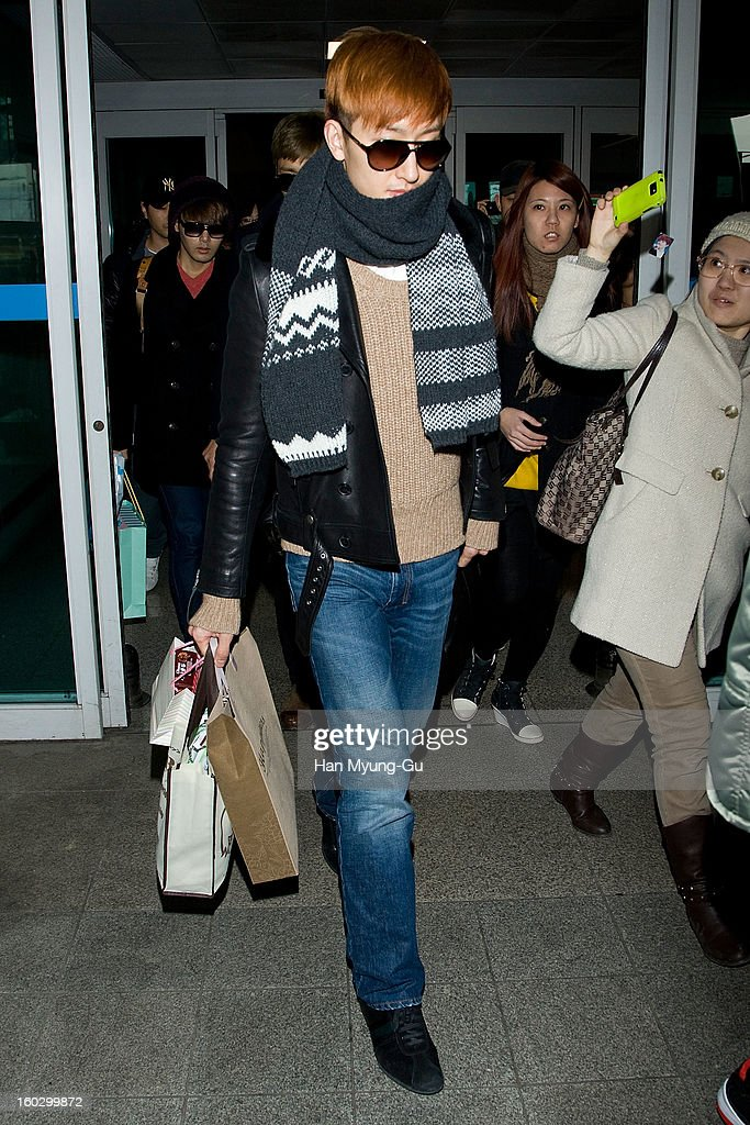 Zhoumi of Super Junior M is seen at Incheon International Airport on January 28, 2013 in Incheon, South Korea.