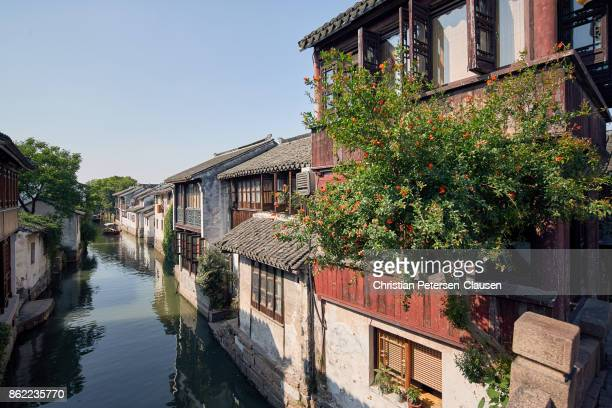 Zhouzhuang Water town late afternoon at the main canal