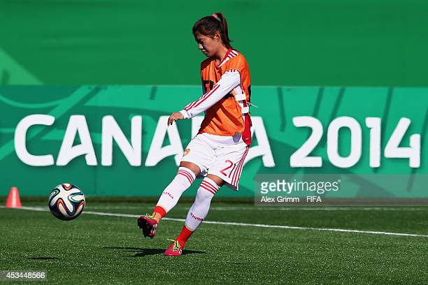 Zhu Beiyan attends a China training session at Moncton stadium on August 8 2014 in Moncton Canada