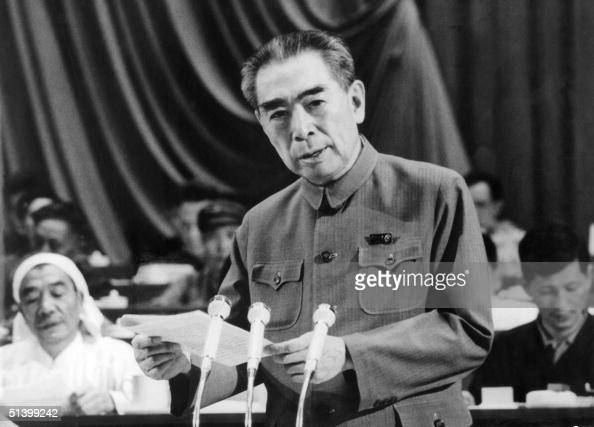 Zhu Enlai one of the leaders of the Chinese Communist Party and Prime Minister of China from its inception in 1949 until his death addresses the...