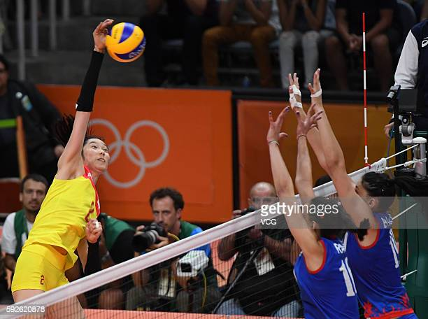 Zhu Ting of China in action during the Volleyball Women's Gold Medal Match between Serbia and China on Day 15 of the Rio 2016 Olympic Games at the...