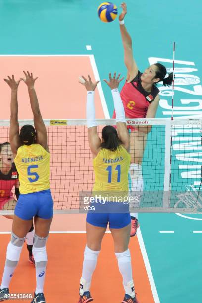 Zhu Ting of China serves the ball during the group match of 2017 Nanjing FIVB World Grand Prix Finals between China and Brazil at Nanjing Olympic...