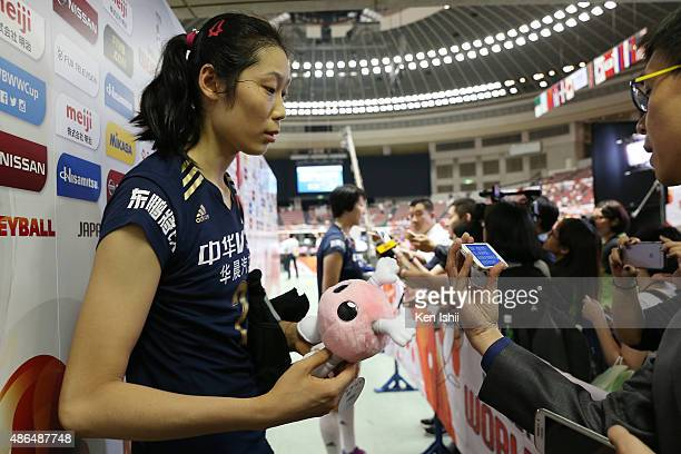 Zhu Ting of China speaks to the media after the match between Dominican Republic and China during the FIVB Women's Volleyball World Cup Japan 2015 at...