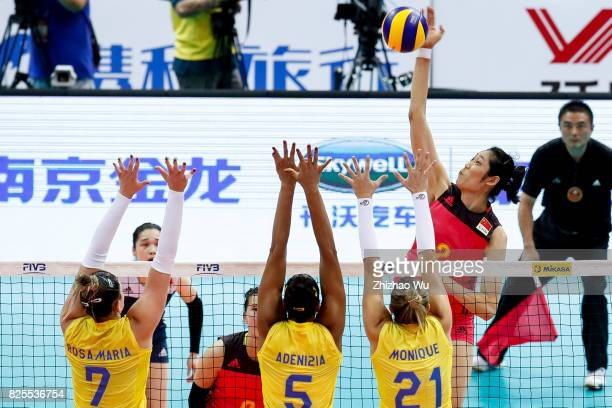 Zhu Ting of China spikes during 2017 Nanjing FIVB World Grand Prix Finals between China and Brazil on August 2 2017 in Nanjing China