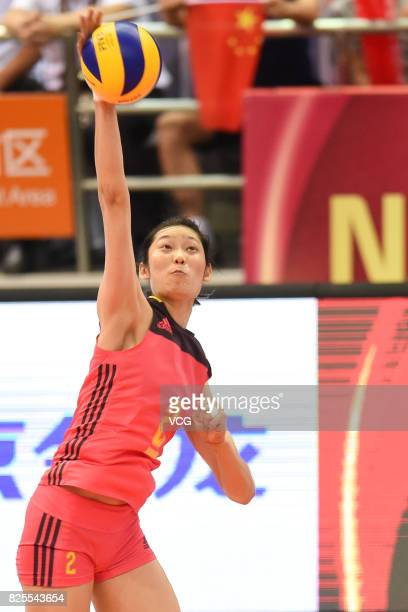 Zhu Ting of China spikes the ball during the group match of 2017 Nanjing FIVB World Grand Prix Finals between China and Brazil at Nanjing Olympic...
