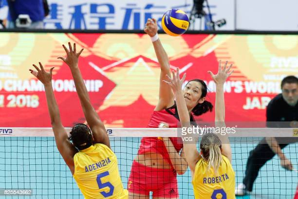 Zhu Ting serves the ball during the group match of 2017 Nanjing FIVB World Grand Prix Finals between China and Brazil at Nanjing Olympic Sports...