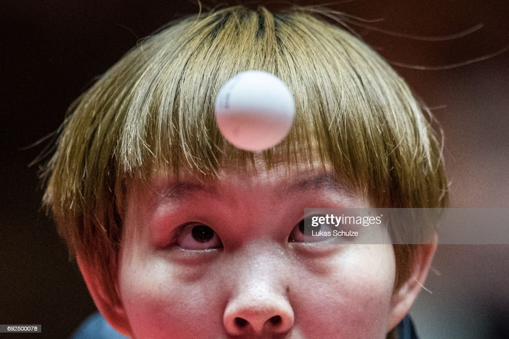 Zhu Yuling of China attends the Women's Doubles Semi Final match of the Table Tennis World Championship at Messe Duesseldorf on June 5, 2017 in Dusseldorf, Germany.