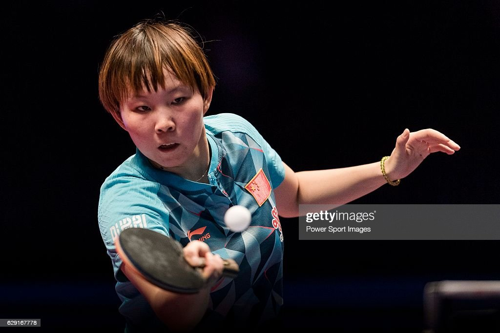 Zhu Yuling of China in action against Ying Hang of Germany during their Women's Singles Final match during the Seamaster Qatar 2016 ITTF World Tour Grand Finals at the Ali Bin Hamad Al Attiya Arena on 11 December 2016, in Doha, Qatar.