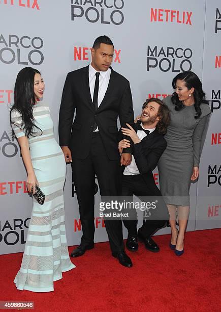 Zhu Zhu Uli Latukefu Lorenzo Richelmy and Olivia Cheng attend the 'Marco Polo' New York Series Premiere at AMC Lincoln Square Theater on December 2...