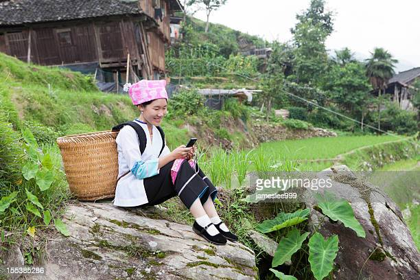 Zhuang Tribe Girl Text Messaging