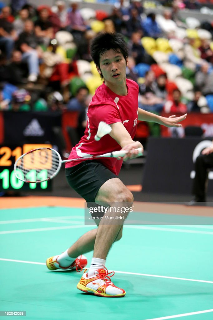 Zi Liang Derek Wong of Singapore in action during Day Two of the London Badminton Grand Prix at The Copper Box on October 2, 2013 in London, England.