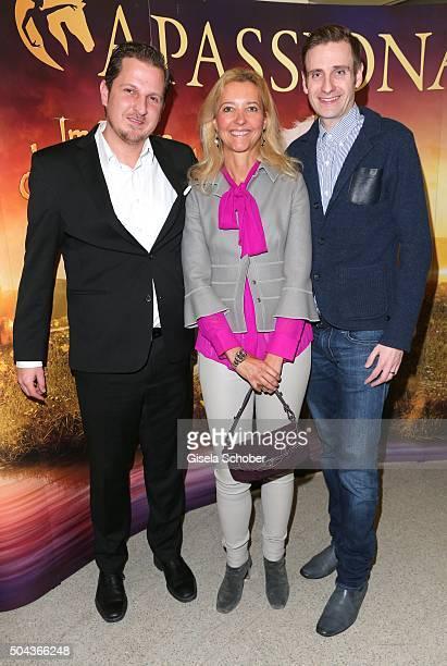 Ziad AlMichref Claudia Cieslarczyk editorinchief of 'Frau im Spiegel' and Benedikt Merget during the 'APASSIONATA Im Bann des Spiegels' VIP reception...