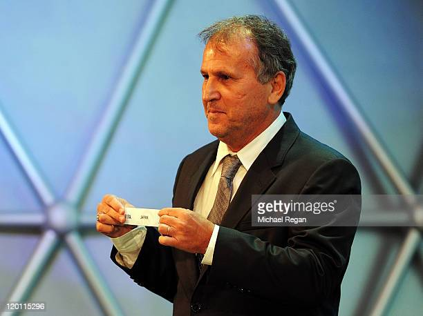 Zico draws out Japan from the pot during the Preliminary Draw of the 2014 FIFA World Cup at Marina Da Gloria on July 30 2011 in Rio de Janeiro...