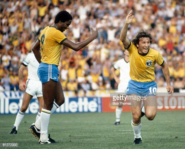 Zico of Brazil celebrates after scoring a goal during the Brazil v New Zealand World Cup match played in Seville Spain on the 23rd June 1982