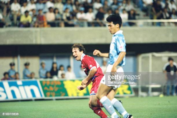 Zico of Kashima Antlers scores his side's second goal during the JLeague match between Jubilo Iwata and Kashima Antlers at Jubilo Iwata Soccer...