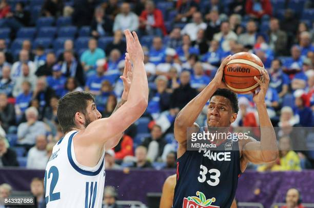 Ziga Dimec of Slovenia Axel Toupane of France during the FIBA Eurobasket 2017 Group A match between Slovenia and France on September 6 2017 in...