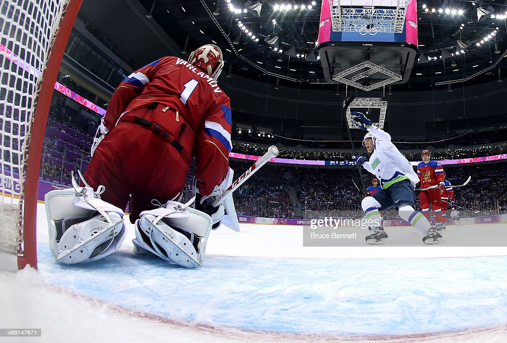 Ziga Jeglic #8 of Slovenia celebrates scoring a goal in the second period against <a gi-track='captionPersonalityLinkClicked' href=/galleries/search?phrase=Semyon+Varlamov&family=editorial&specificpeople=6264893 ng-click='$event.stopPropagation()'>Semyon Varlamov</a> #1 of Russia during the Men's Ice Hockey Preliminary Round Group A game on day six of the Sochi 2014 Winter Olympics at Bolshoy Ice Dome on February 13, 2014 in Sochi, Russia.