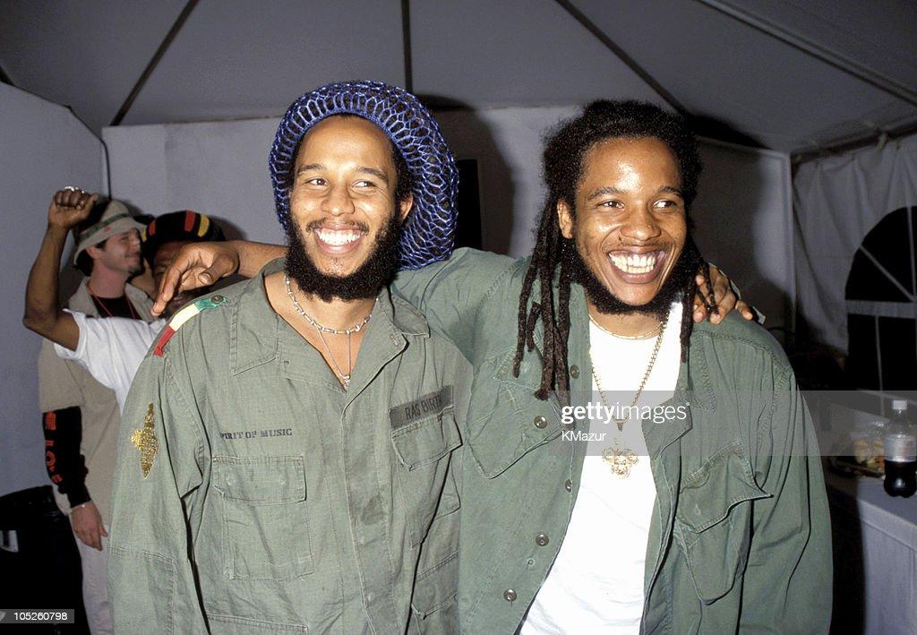 Ziggy Marley and Stephen Marley during TNT Bob Marley All Star Tribute at James Bond Beach in Oracabeca Beach, Jamaica, Jamaica.